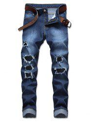 Zip Fly Straight Leg Destroyed Wash Jeans -