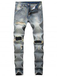 Faded Wash Zip Fly Distressed Jeans -