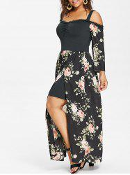 Plus Size Floral High Split Maxi Dress -