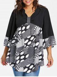 Plus Size Bell Sleeve Polka Dot Blouse -