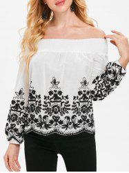 Off The Shoulder Plant Pattern Scalloped Blouse -