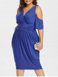 Cold Shoulder Plus Size Empire Waist Knee Length Dress -
