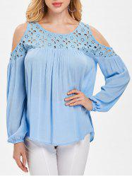 Eyelet Yoke Cold Shoulder Blouse -