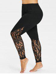 Plus Size Floral Lace Trim Leggings -