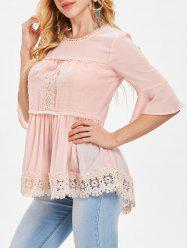 Flared Sleeve Crochet Lace Blouse -