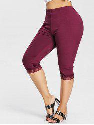 Plus Size Lace Trim Knee Length Leggings -