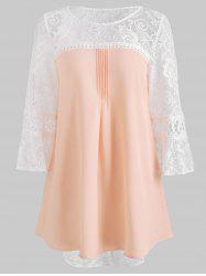 Three Quarter Lace Sleeve Chiffon Blouse -