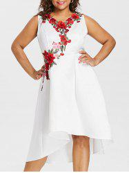 Plus Size Sleeveless Embroidery Appliqued High Low Dress -