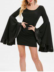 Bell Sleeve Mini Slim Dress -