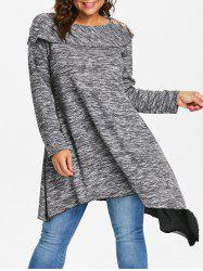 Space Dye Plus Size Asymmetrical Sweater -