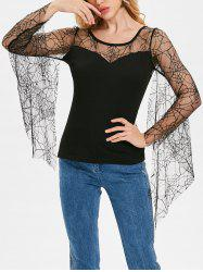 Long Sleeve Strappy Lace T-shirt -