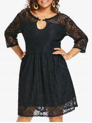 Plus Size Keyhole Knee Length Lace Dress -