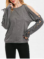 Lace Up Sleeve Open Shoulder Top -