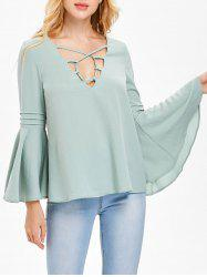 Strappy Flare Sleeve Chiffon Blouse -