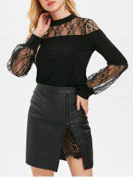 Long Sleeve Sheer Lace Insert T-shirt -