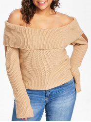 Plus Size Cowl Neck Cold Shoulder Sweater -