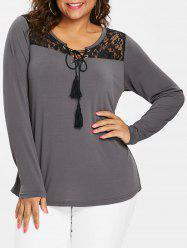 Long Sleeve Plus Size Lace Panel T-shirt -