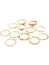 Rhinestone Inlaid Knotted Carved Alloy Rings Set -