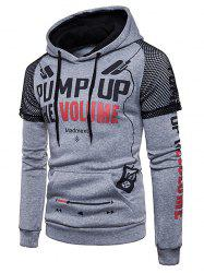Letter Graphic Sleeve Mesh Decor Pocket Fleece Hoodie -