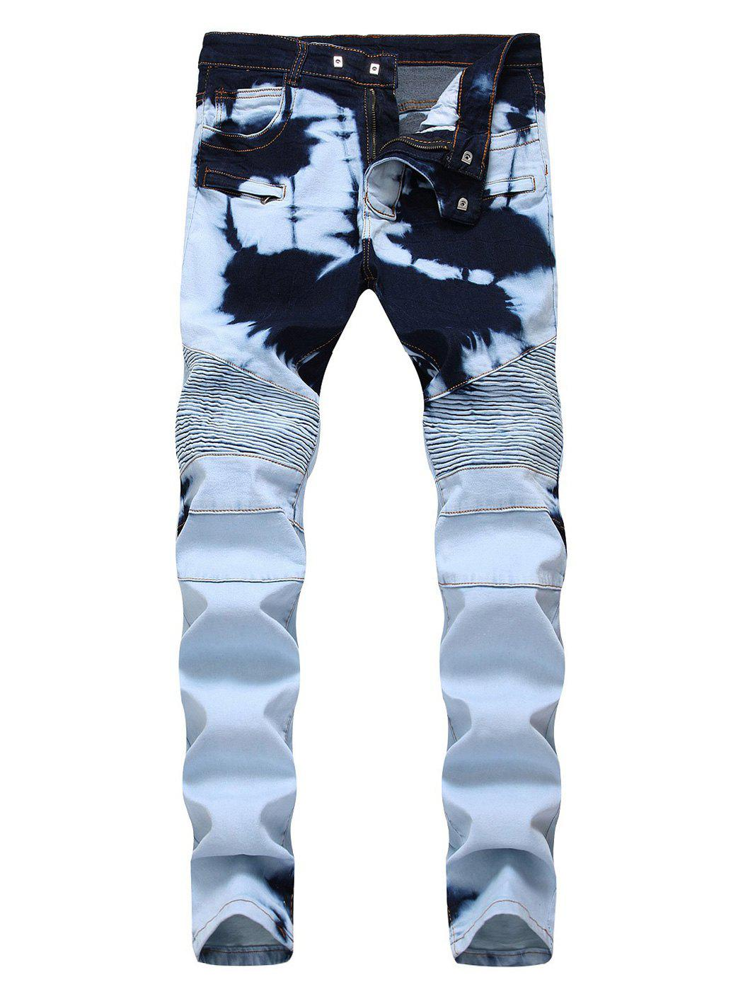 Affordable Zip Embellished Tie Dye Biker Jeans