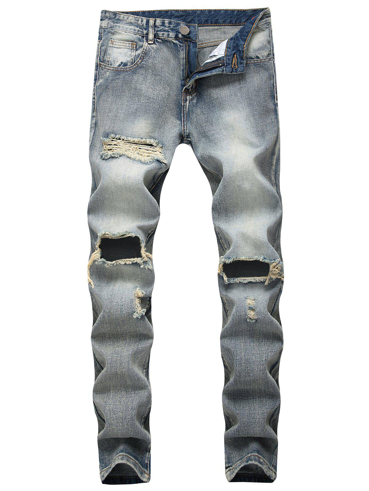 Discount Faded Wash Zip Fly Distressed Jeans