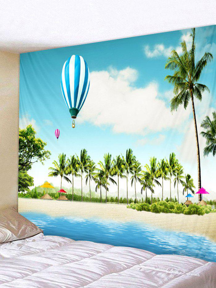 Chic Tropical Coconut Palms Balloon Beach Scenery Printed Wall Tapestry