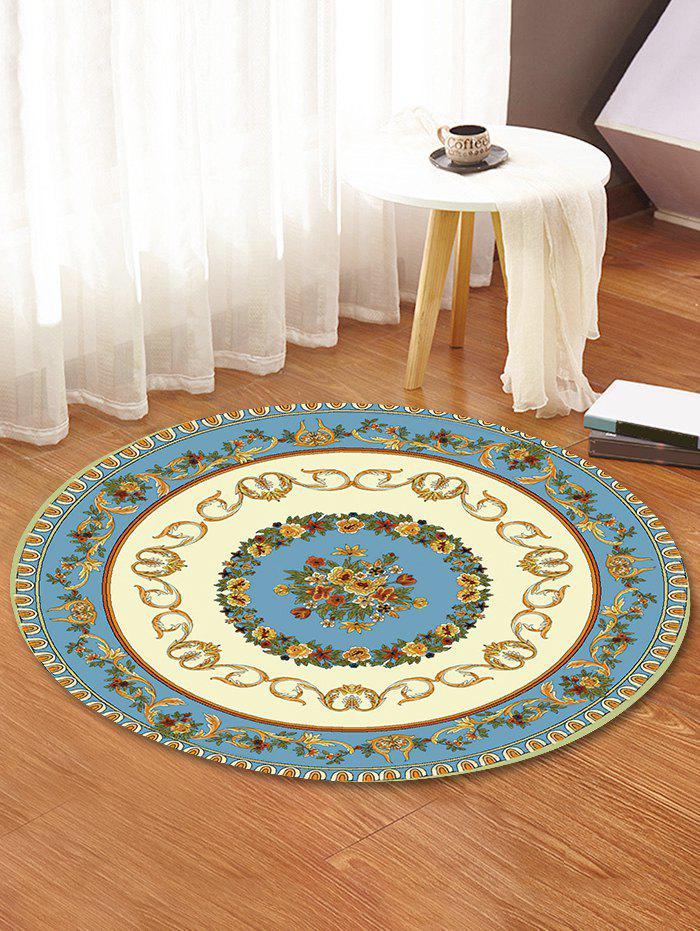 Shops Classic Flower Ring Print Round Area Rug