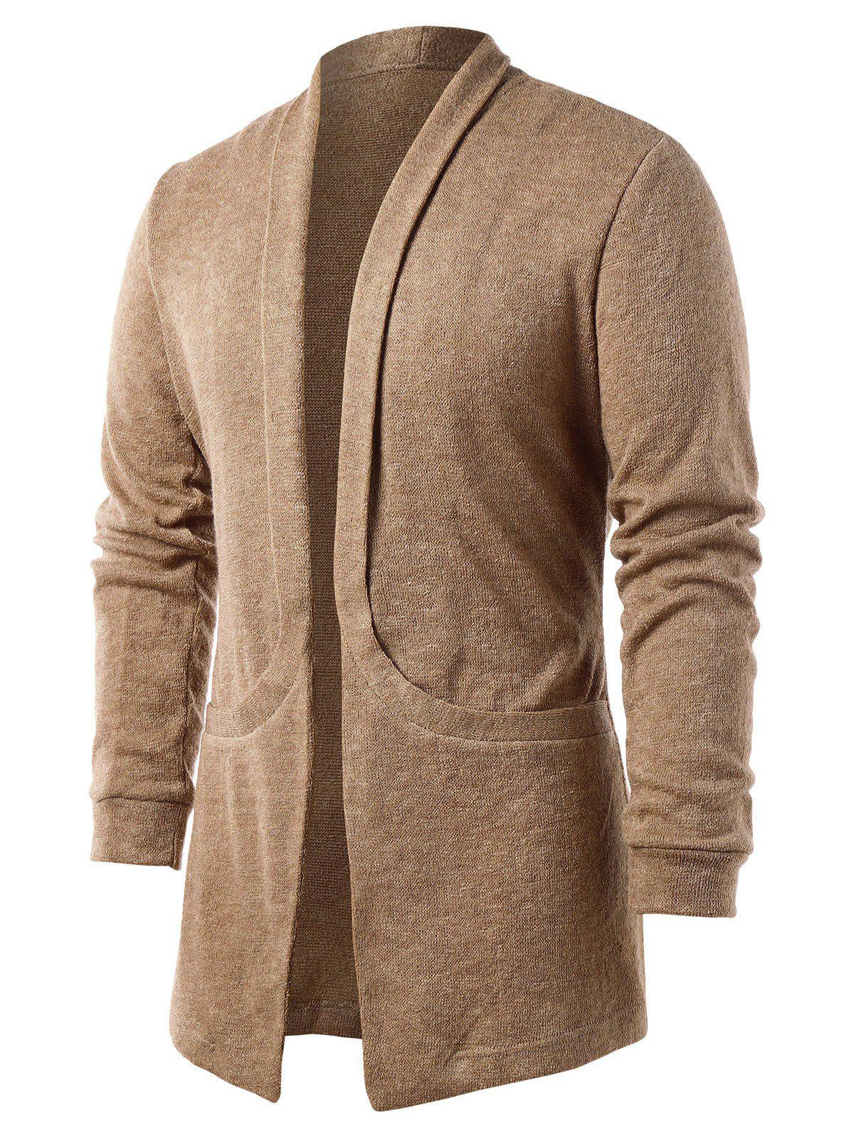 Fashion Solid Color Pocket Design Cardigan