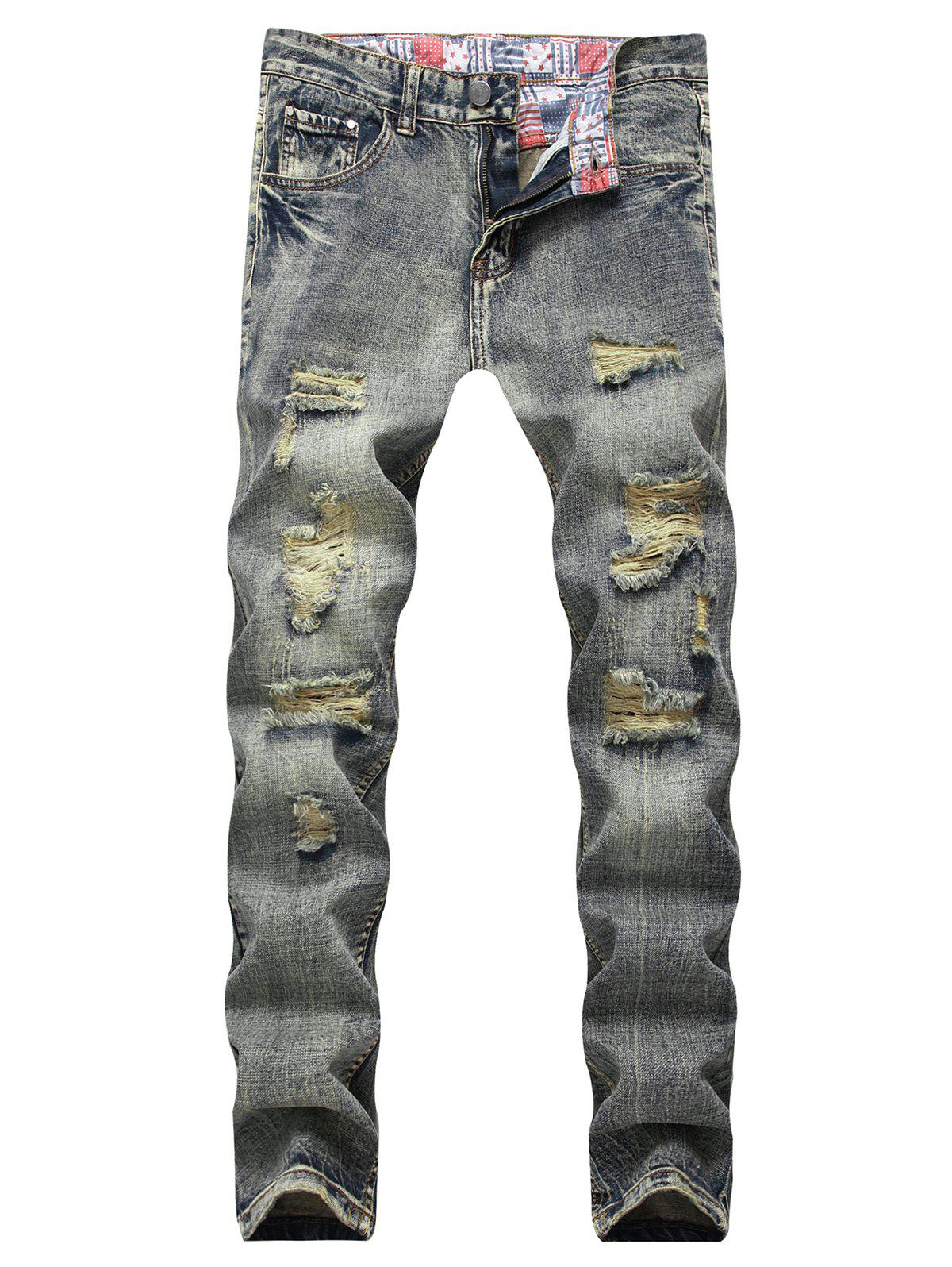 Fashion Distressed Light Wash Zip Fly Jeans