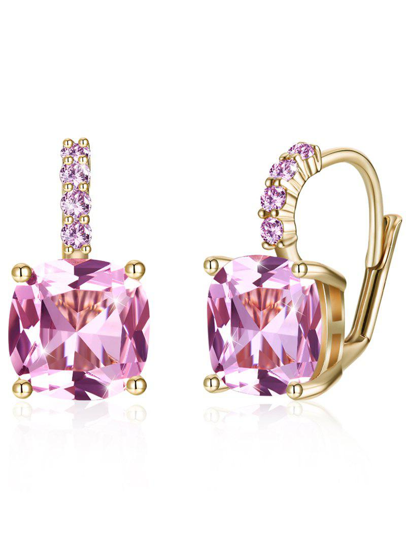 Chic Sparkling Square Crystal Rhinestone Level Back Earrings