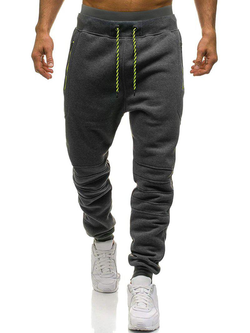 Online Knee Seam Zipper Pockets Sports Fleece Jogger Pants
