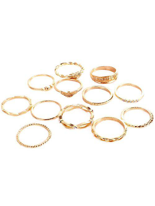 Latest Rhinestone Inlaid Knotted Carved Alloy Rings Set