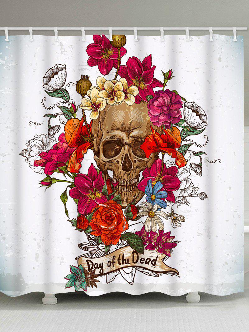 Affordable Flowers and Skull Print Waterproof Bathroom Shower Curtain