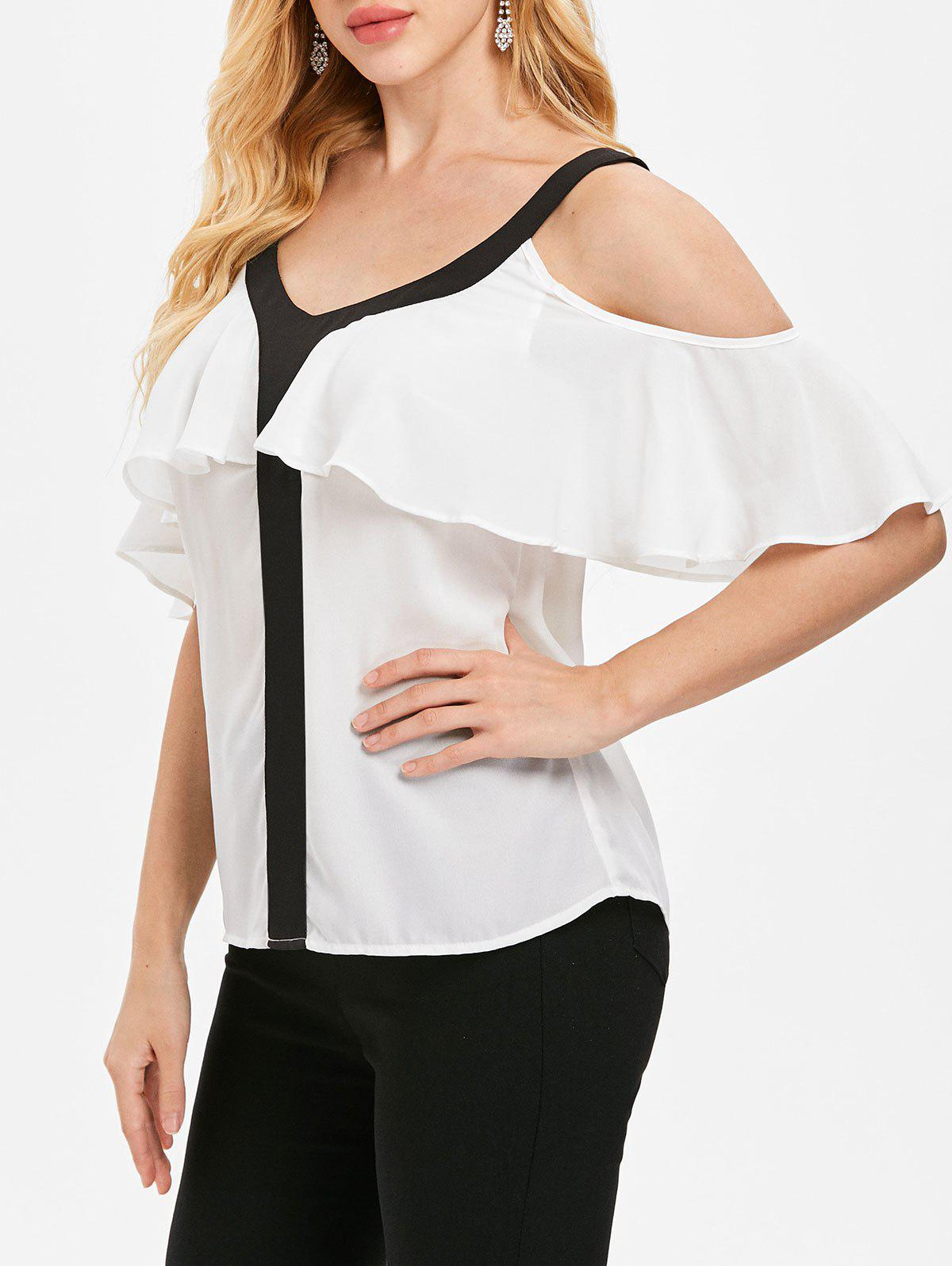 Cheap Cold Shoulder V Neck Blouse