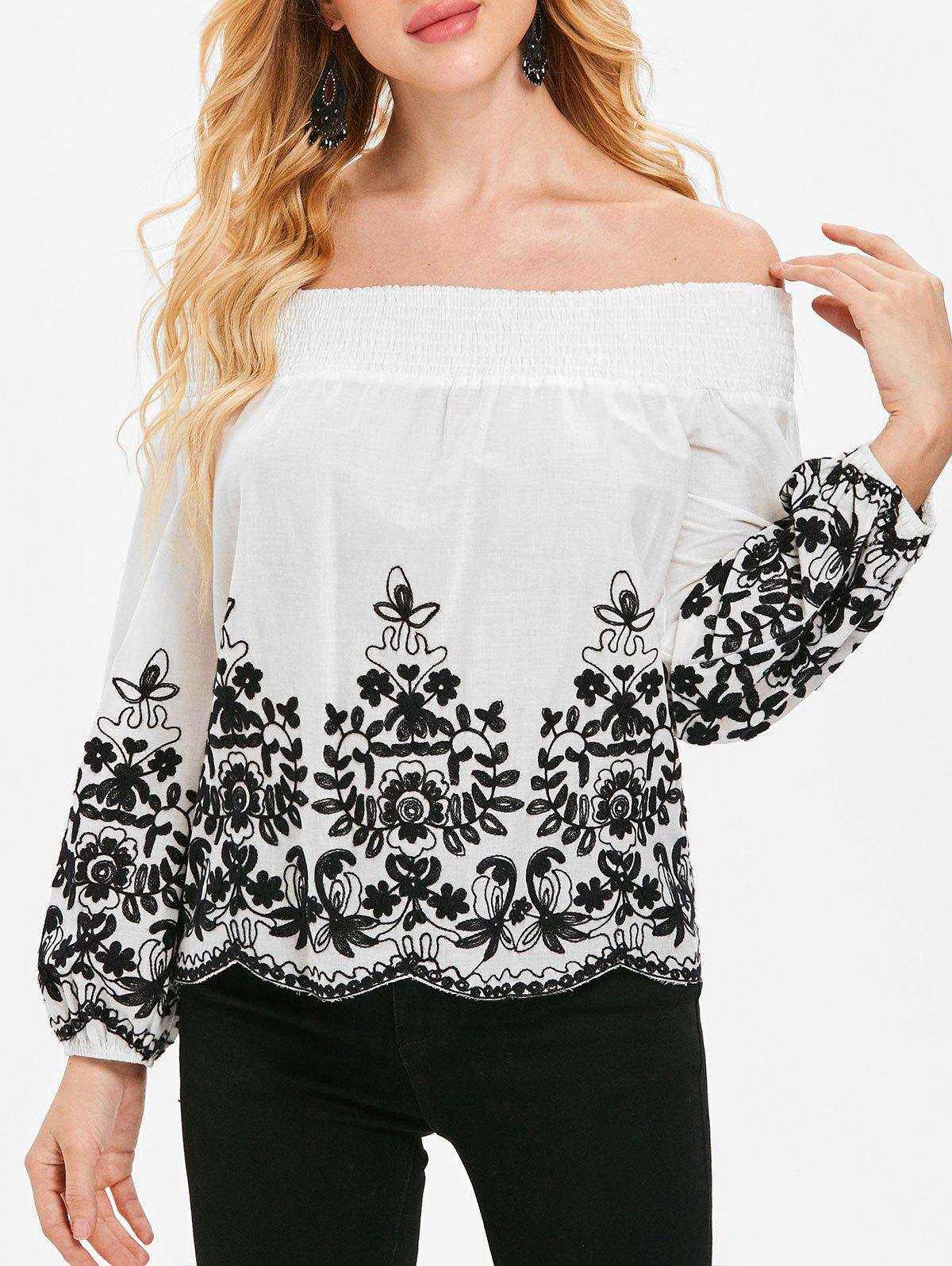 Best Off The Shoulder Plant Pattern Scalloped Blouse