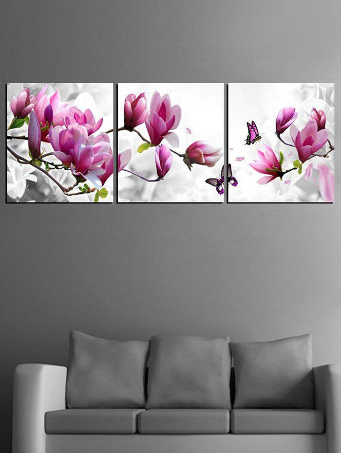 Cheap Flowers and Butterfly Print Unframed Split Canvas Paintings