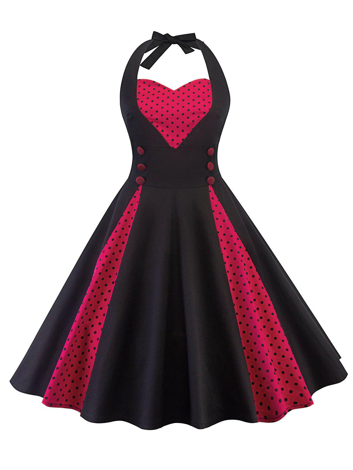 Chic Polka Dot Insert Halter Neck Vintage Dress