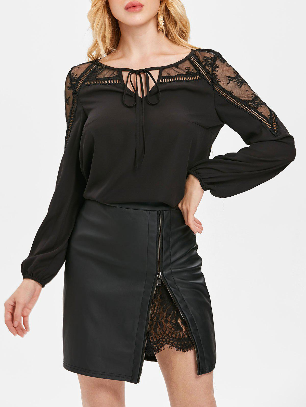 Online Sheer Lace Panel Front Tie Chiffon Blouse