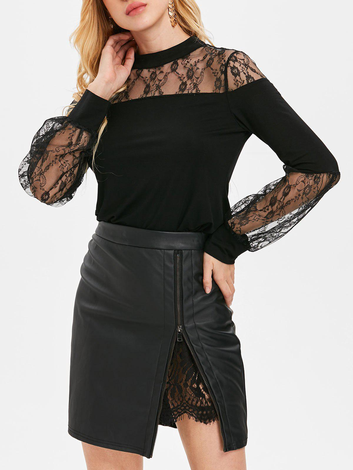 Discount Long Sleeve Sheer Lace Insert T-shirt