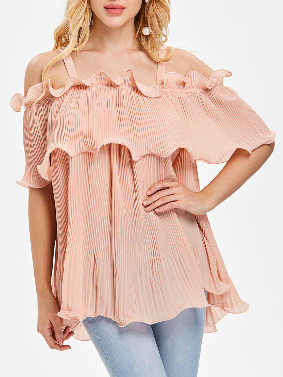 Discount Cold Shoulder Overlay Pleated Blouse