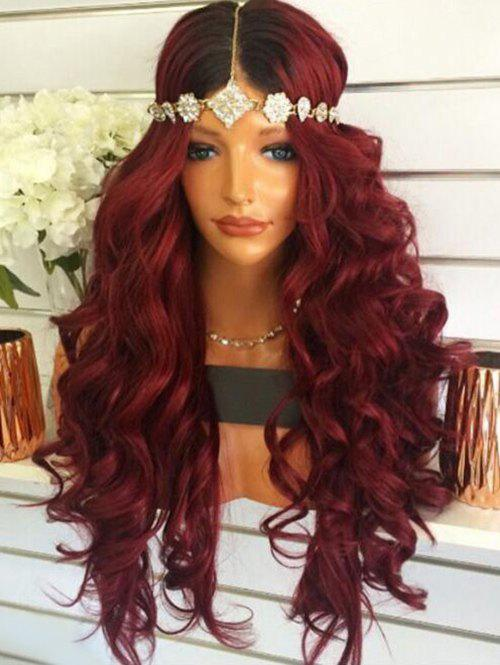 Chic Long Middle Part Ombre Body Wave Synthetic Wig