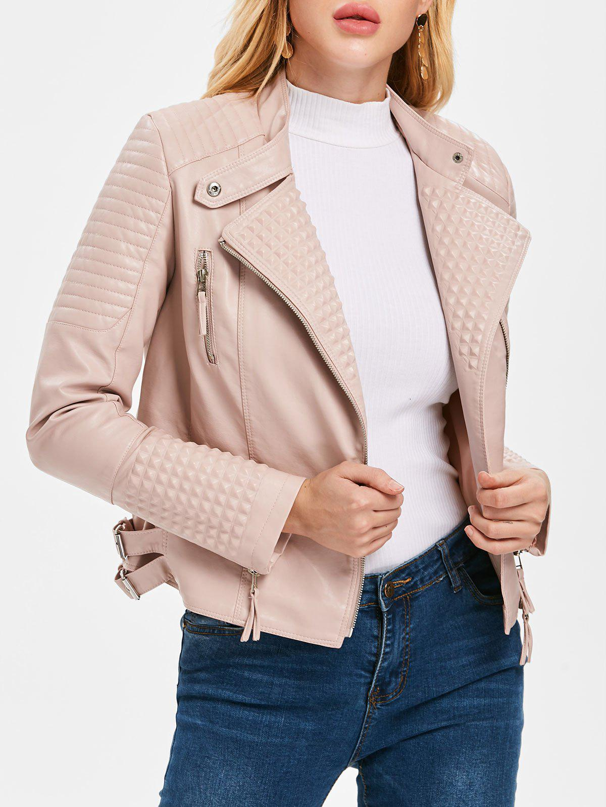 Shops Oblique Zipper PU Biker Jacket