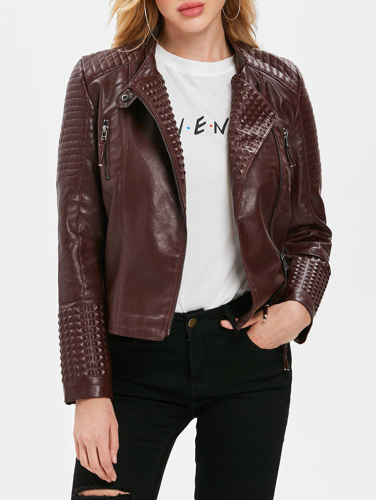 New Oblique Zipper PU Biker Jacket