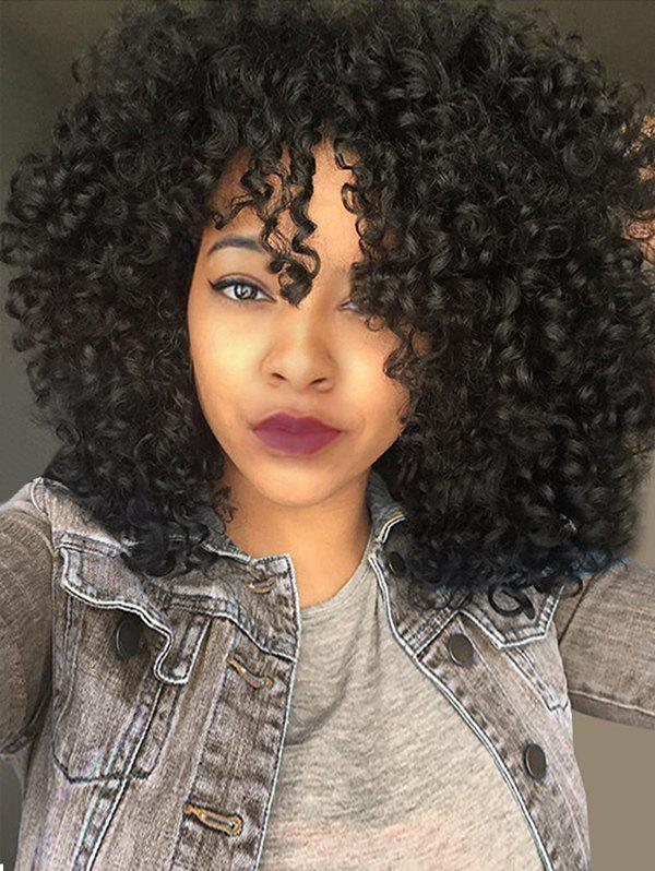 Medium See-through Bang Fluffy Afro Curly Synthetic Wig