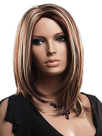 Cheap Center Parting Medium Highlighted Straight Bob Synthetic Wig