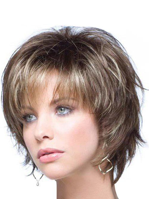 Discount Shaggy Fashion Short Capless Blonde Mixed Brown Heat Resistant Fiber Side Bang Wavy Women's Wig