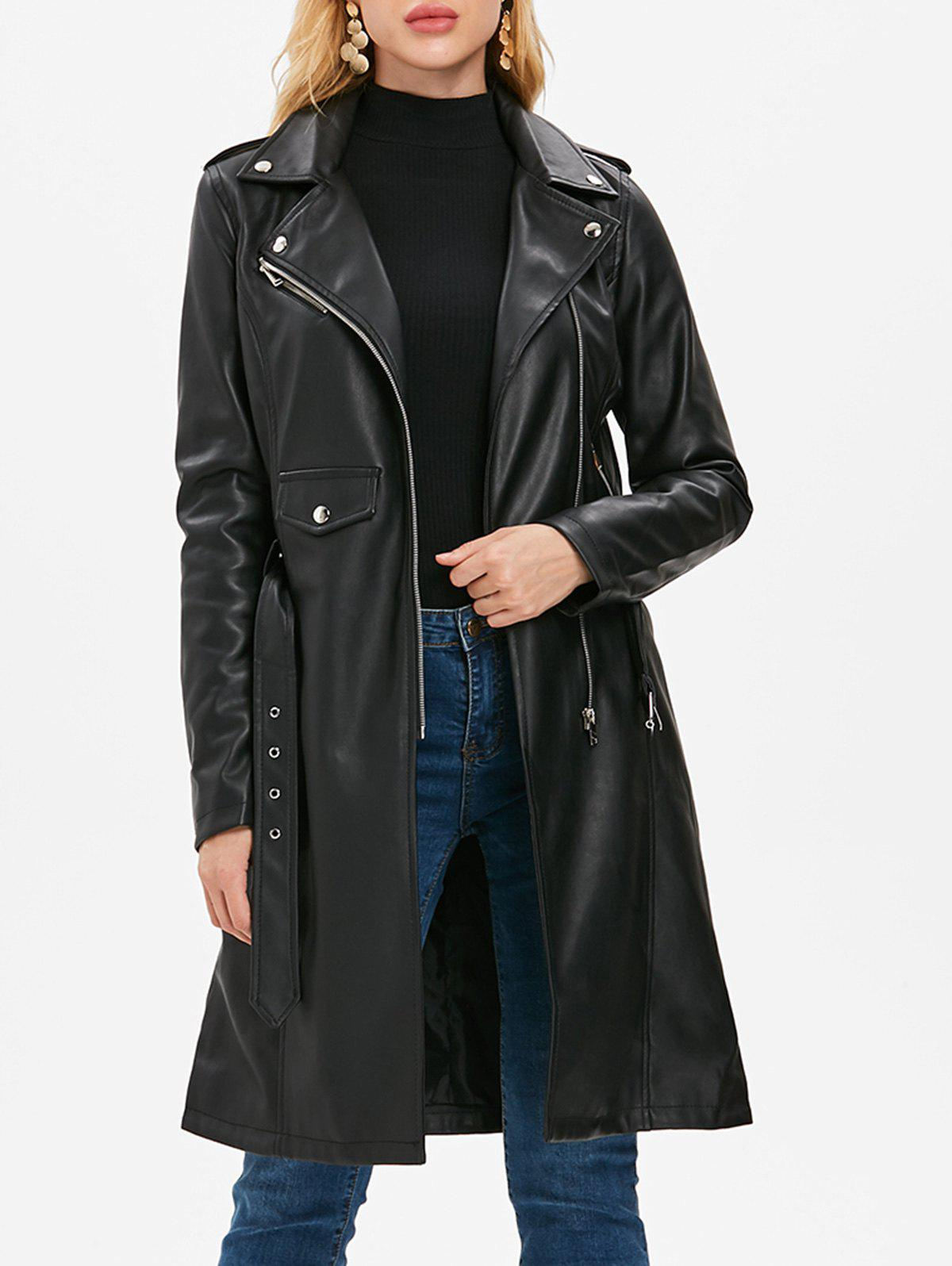 Buy Faux Leather Lapel Zipper Coat