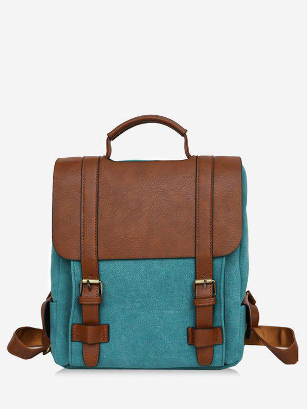 Hot Color Block Casual Buckles Flap Backpack