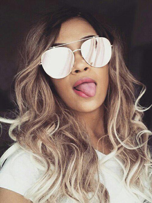 Trendy Long Inclined Bang Colormix Wavy Synthetic Wig