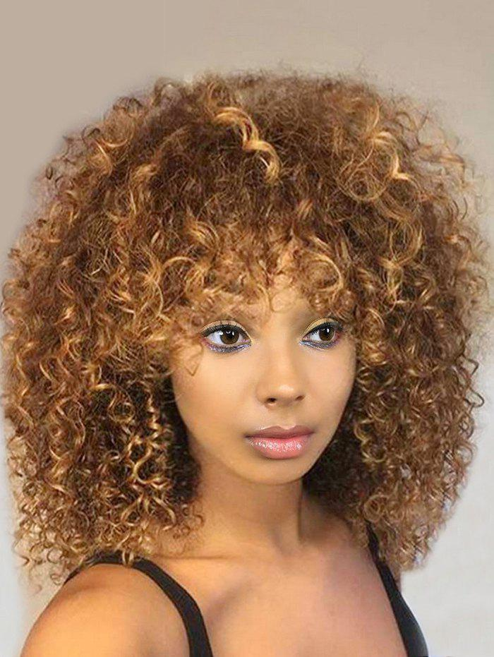 Discount Medium Side Bang Fluffy Colormix Afro Kinky Curly Synthetic Wig